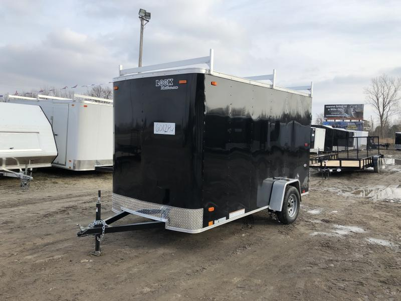 Look Trailers 6X12 Flat Front Barn Door Enclosed Trailer Black w/ 6'6