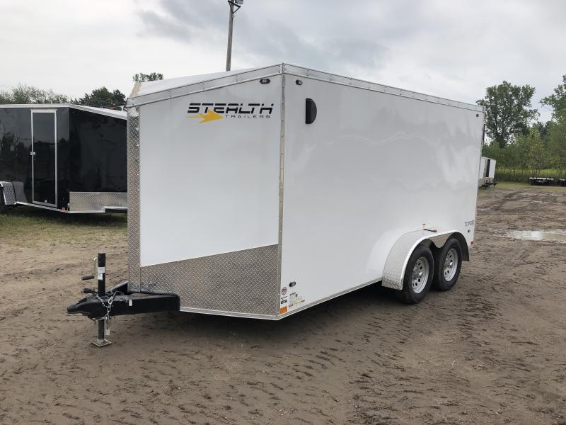 Stealth Trailers Titan 7X14 V-Nose Ramp Enclosed Trailer White