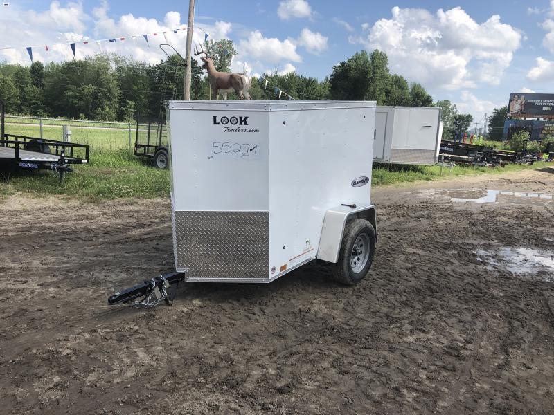 Look Trailers White Element 4x6 Barn Door Enclosed Cargo Trailer