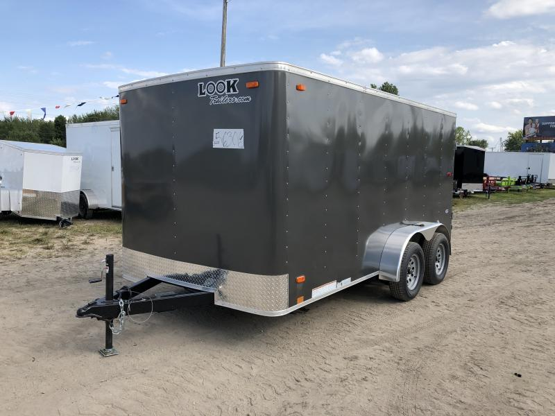Look Trailers 7x14 Barn Door Enclosed Cargo Trailer Charcoal
