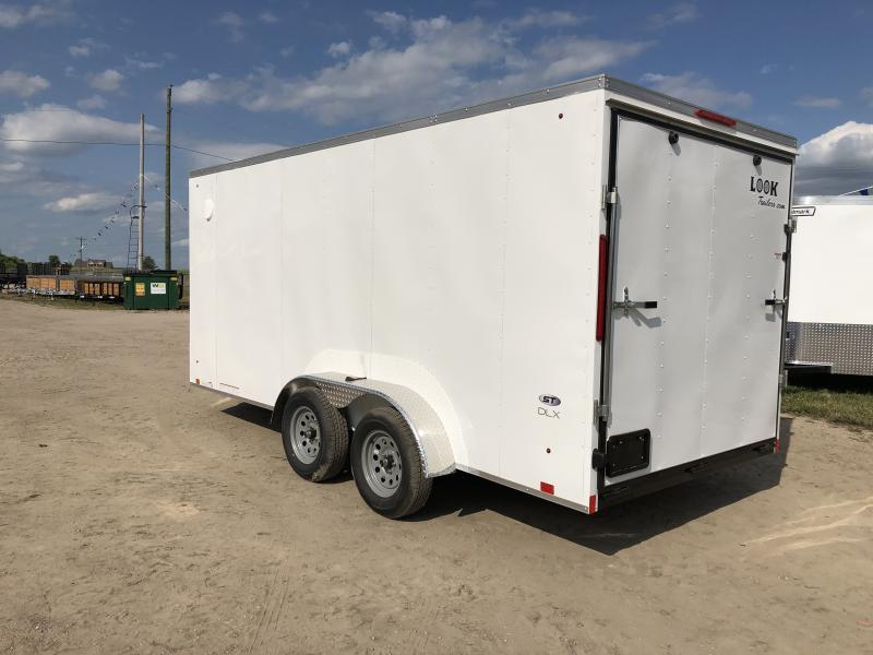 Look Trailers 7x16 V-Nose Ramp Door Enclosed Trailer White w/ 6ft 6in Interior height