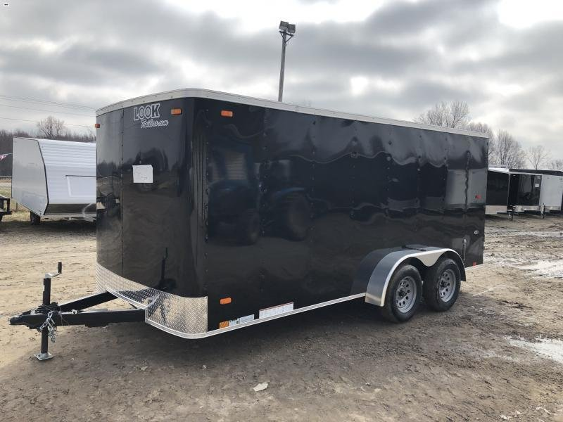 Look Trailers Black 7x16 Barn Door Enclosed Cargo Trailer