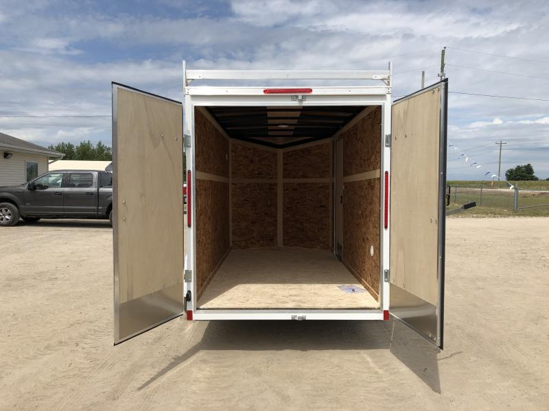 Look Trailers 6X12 V-Nose Barn Door Enclosed Trailer White w/ 6ft 6in Interior height & Ladder Rack