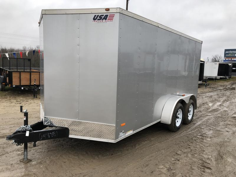 MTI Trailers Silver USA 7X14 V-Nose Ramp Door Enclosed Cargo Trailer Silver