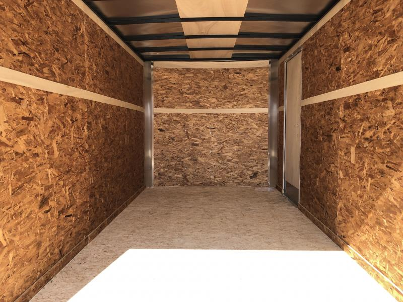 Look Trailers 7x14Flat Front Barn Door Enclosed Trailer Wht w/ Ladder Racks