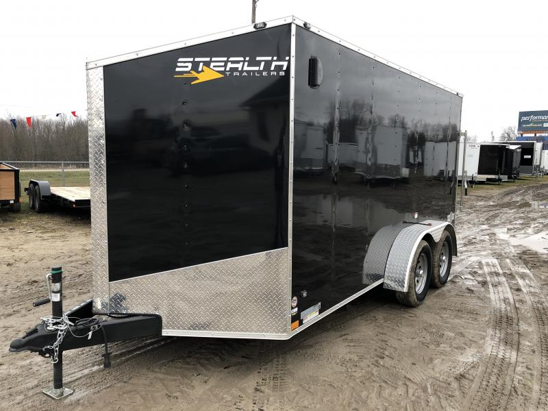 Stealth Trailers Black 7X14 V-Nose Ramp Door Enclosed Cargo Trailer