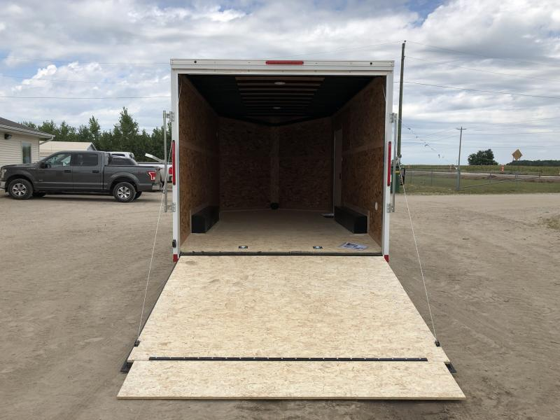 Look Trailers 8.5x16 V-Nose Ramp Door Enclosed Trailer White w/ 7ft Interior height
