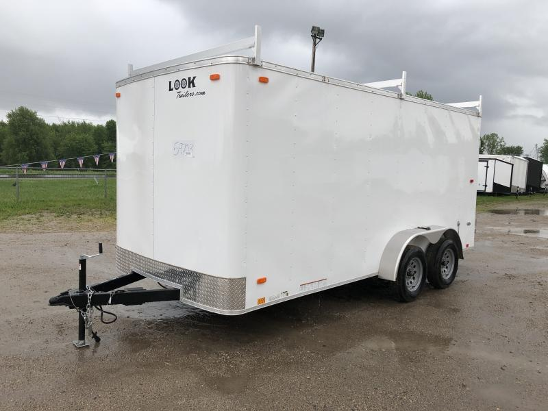 Look Trailers 7x16 Barn Door Enclosed Trailer White w/ 6ft 6in Interior height and Ladder Racks