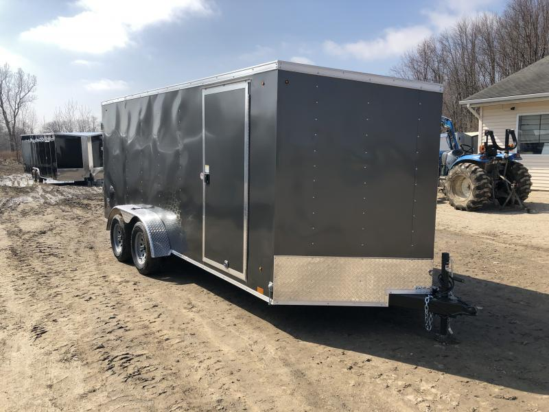 Look Trailers 7x16 V-Nose Ramp Door Enclosed Trailer Charcoal