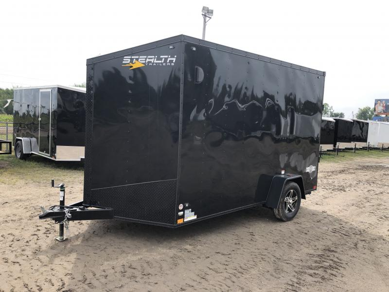 Stealth Trailers Black 7x12 V-Nose Ramp Door HD UTV+12 Pkg Enclosed Cargo Trailer