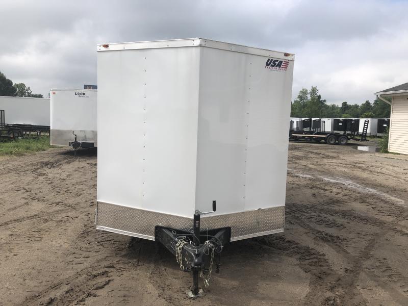 USA 7X16 V-Nose Ramp Door Enclosed Cargo Trailer White
