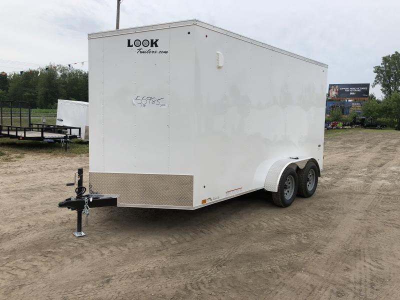 Look Trailers White 7x14 V-Nose Wedge Cargo Trailer w/ 7ft Interior Height