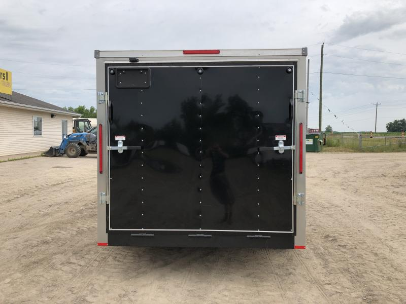 MTI Trailers USA 7X14 V-Nose Ramp Door Enclosed Cargo Trailer Black