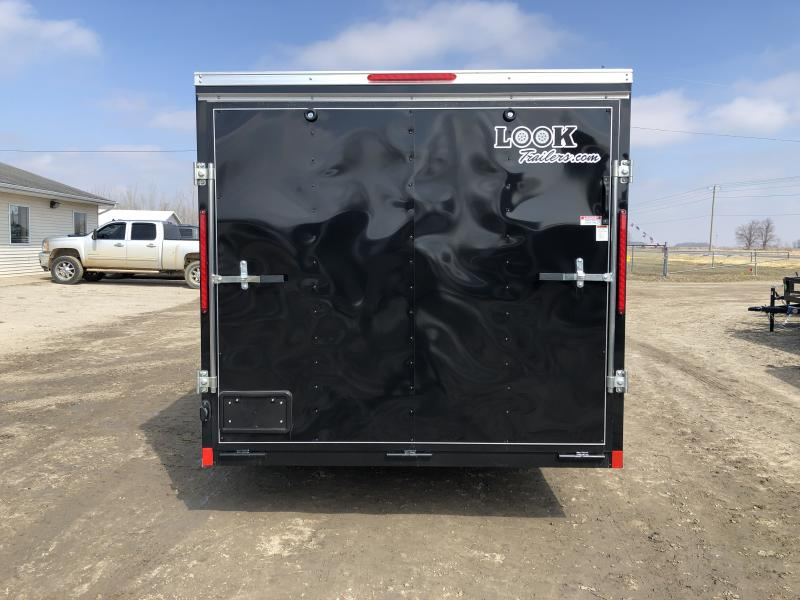 Look Trailers 7x16 V-Nose Ramp Door Enclosed Trailer Black