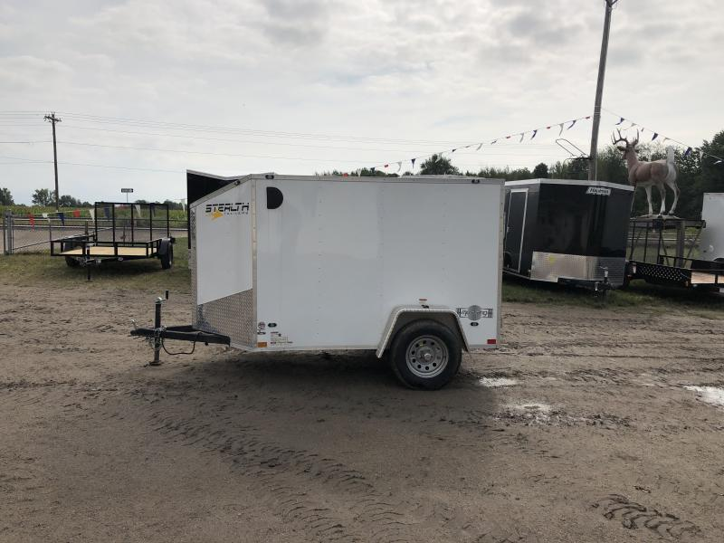Stealth Trailers Mustang White 5x8 V-Nose Ramp Door Enclosed Trailer