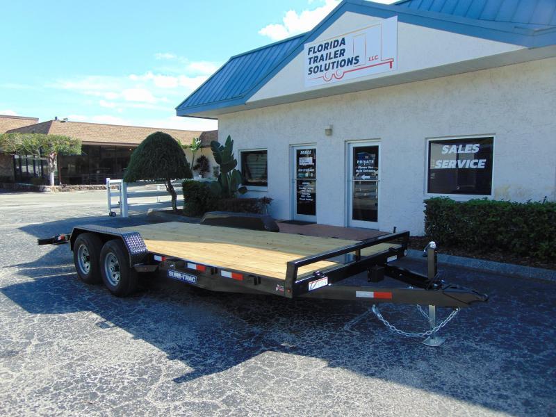 New Sure-Trac 7X18 Wood Deck 10k Car Hauler