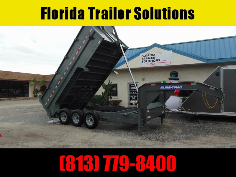 New Sure-Trac 82X16 21K-4ft Sides-Gooseneck Tri-Axle Telescopic Dump Trailer