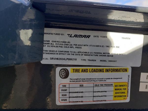 2020 Lamar Trailers H6832027 Equipment Trailer