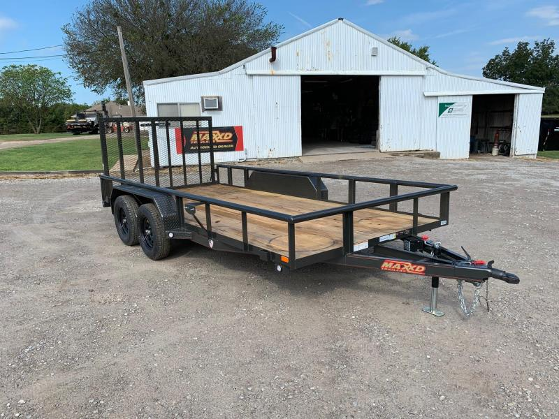 "NEW MAXXD 16' X 83"" PIPE-TOP UTILITY WITH GATE (DUAL BRAKES)"