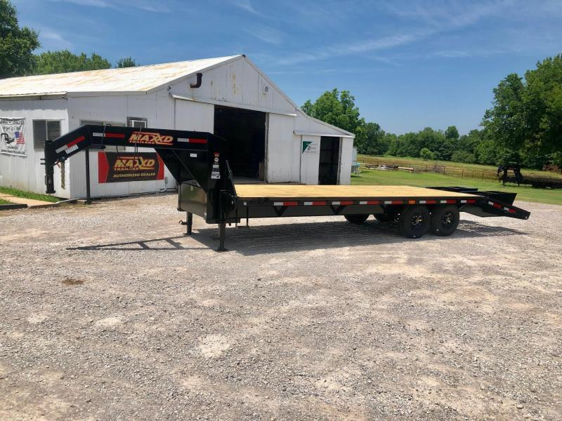 NEW MAXXD 25' SINGLE WHEEL FLATBED WITH DOVETAIL AND FLIPOVER RAMPS