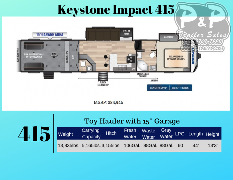 2020 Keystone Impact 415 44 ft Toy Hauler RV