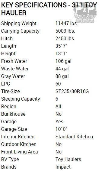 2020 Keystone Impact 311 35.58 ft Toy Hauler RV