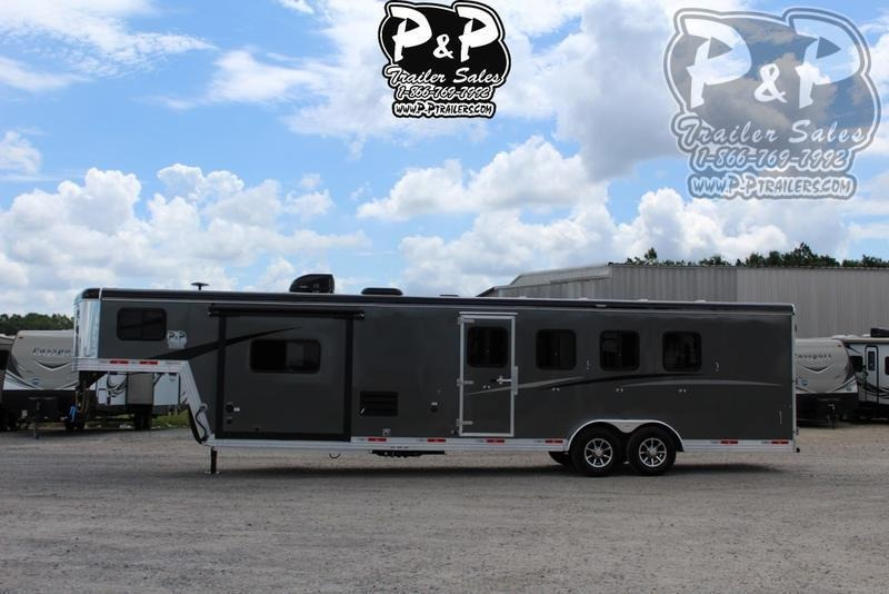 2019 Bison Trailers Trail Boss Slide-Out 7411TBSO 4 Horse Trailer 11 LQ With Slides Slant