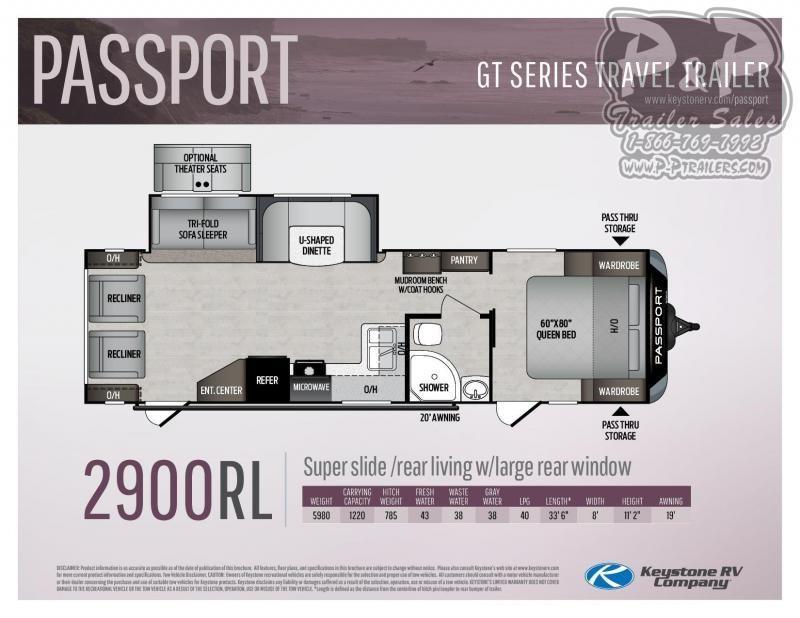 """2020 Keystone Passport 2900RL 33' 6"""" ft Travel Trailer RV"""