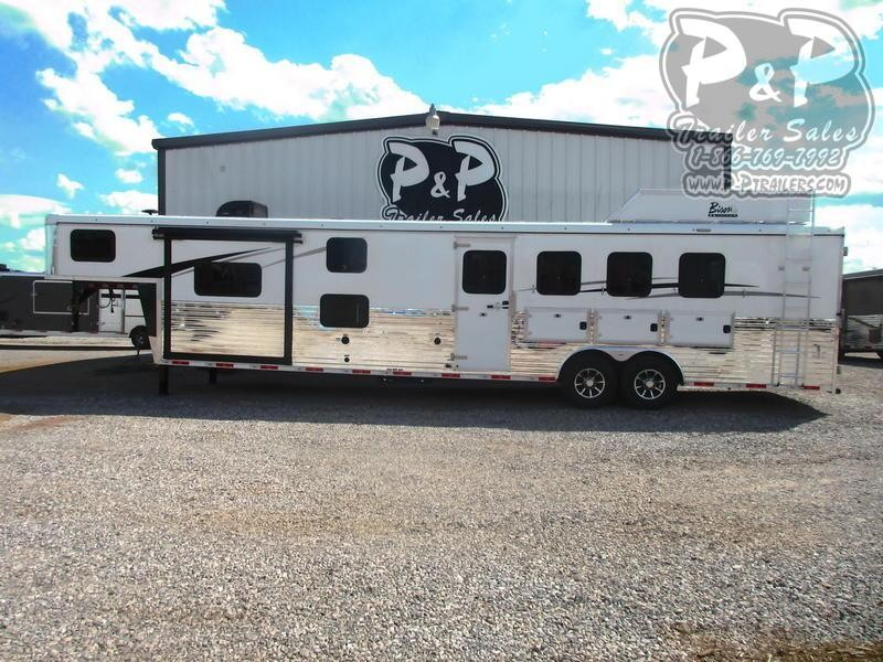2020 Bison Trailers Ranger 8414RGLBH 4 Horse Trailer 14 LQ With Slides Slant