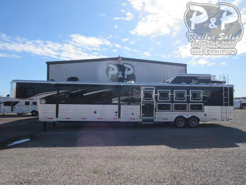 2020 Bison Trailers premiere 4 Horse Straight Load Trailer LQ With Slides w/ Ramps