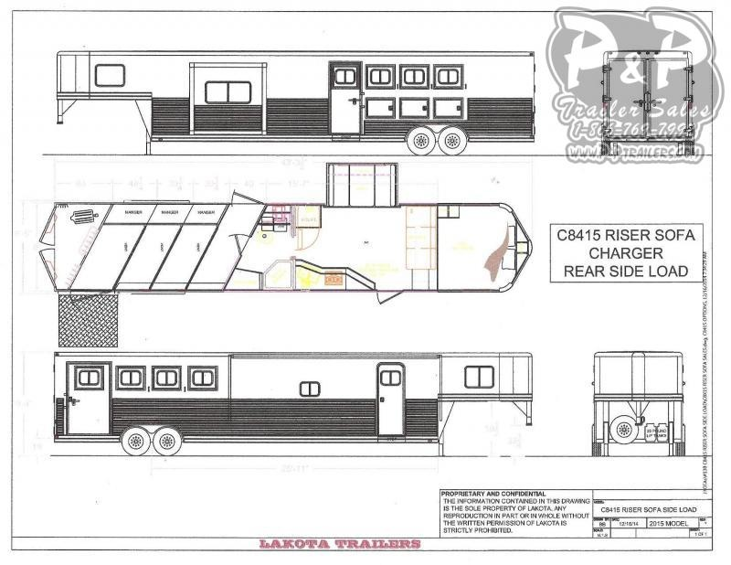 2020 Lakota Charger C8415SRRSL 4 Horse Slant Load Trailer 15 FT LQ With Slides w/ Ramps