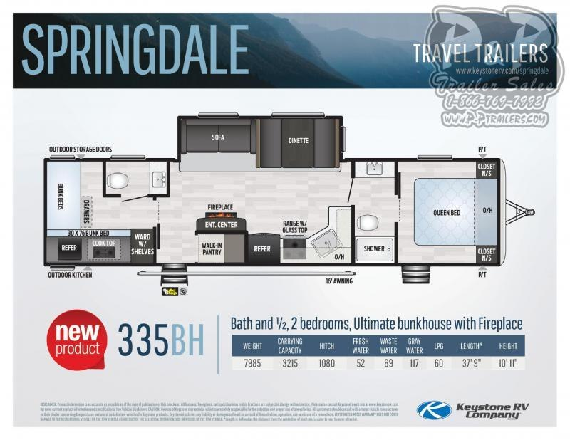 2020 Keystone Springdale 335BH 37.75 ft Travel Trailer RV