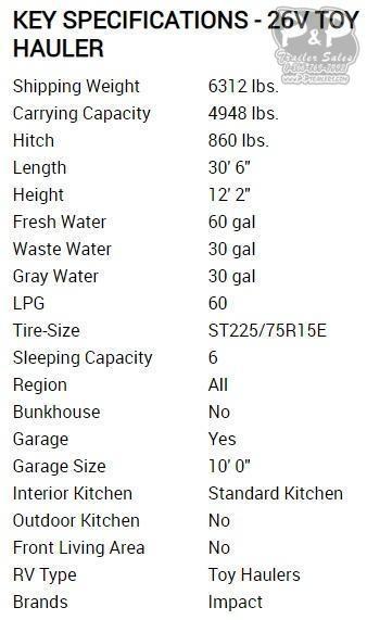 2020 Keystone Impact 26V TOY HAULER 30.50 ft Toy Hauler RV