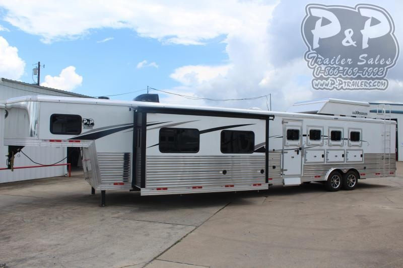 2020 Bison Trailers Premiere 8417PRDSRSL 4 Horse Slant Load Trailer 17 FT LQ With Slides w/ Ramps