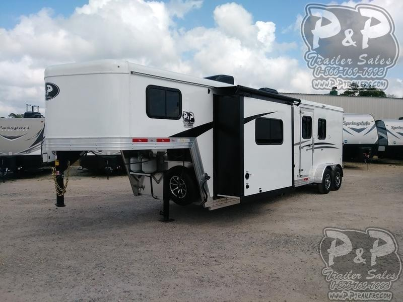 2019 Bison Trailers Trail Boss Slide-Out 7211TBSO 2 Horse Trailer 11 LQ With Slides Slant