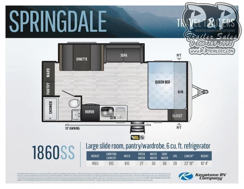 2020 Keystone RV Springdale MINI 1860SS Single Axle 22.83 ft Travel Trailer RV