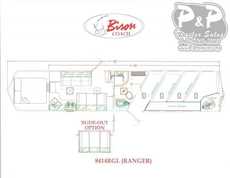 2020 Bison Trailers Ranger 8414RGL 4 Horse Slant Load Trailer 14 FT LQ With Slides