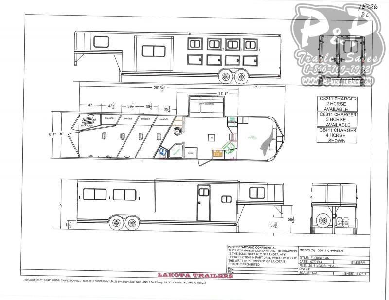 2020 Lakota Charger C8411 4 Horse Slant Load Trailer 11 FT LQ With Slides