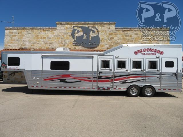 2013 Bloomer Compass Conversion 4 Horse Slant Load Trailer 14 FT LQ With Slides w/ Ramps