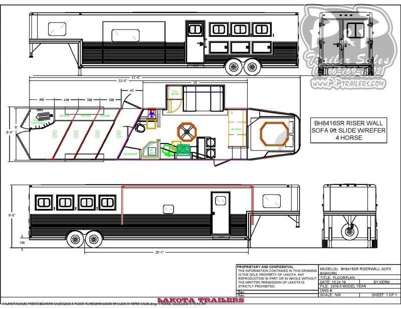 2020 Lakota BH8416SRB 4 Horse Slant Load Trailer 16 FT LQ With Slides