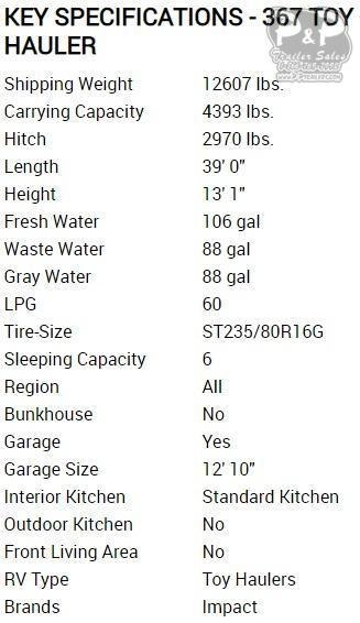 2020 Keystone Impact 367 TOY HAULER 39 ft Toy Hauler RV