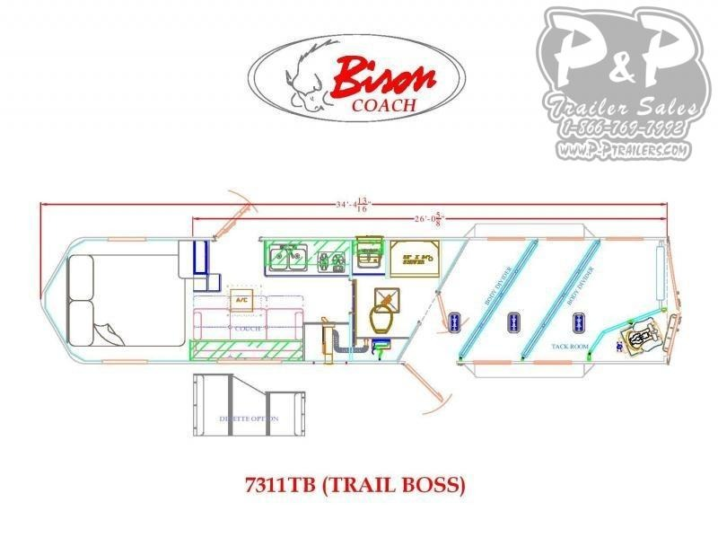 2020 Bison Trailers Trail Boss 7311TB 3 Horse Slant Load Trailer 11 FT LQ