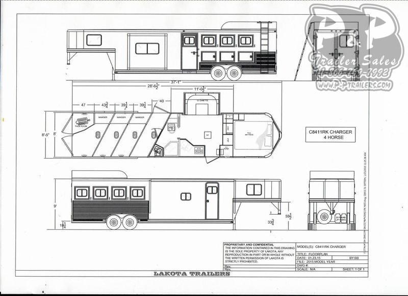 2019 Lakota Charger C8411RK 4 Horse Slant Load Trailer 11 FT LQ With Slides