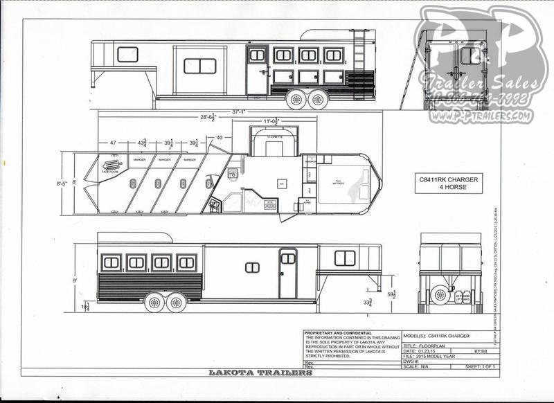 2019 Lakota Trailers Charger 4 Horse 11' Living Quarter w/Slide-Out
