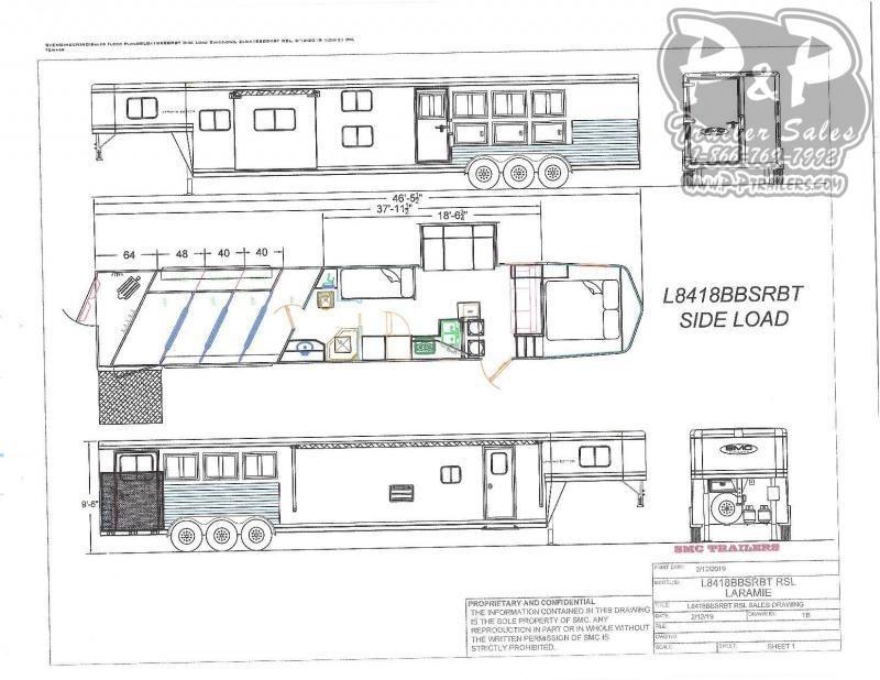2020 SMC Horse Trailers Laramie SL8418SBBSRBRSL 4 Horse Slant Load Trailer 18 FT LQ With Slides w/ Ramps