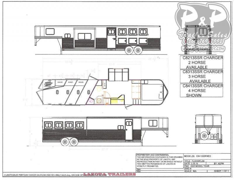 2020 Lakota Charger C8413SR 4 Horse Slant Load Trailer LQ