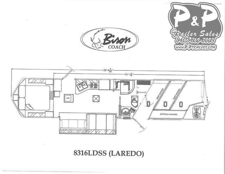 2020 Bison Trailers Laredo 8316LDSS 3 Horse Slant Load Trailer 16 FT LQ With Slides