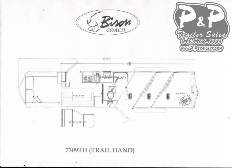 2020 Bison Trailers Trail Hand 7309TH 3 Horse Slant Load Trailer 9 FT LQ