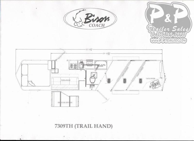2019 Bison Trailers Trail Hand 7309TH 3 Horse Slant Load Trailer 9 FT LQ
