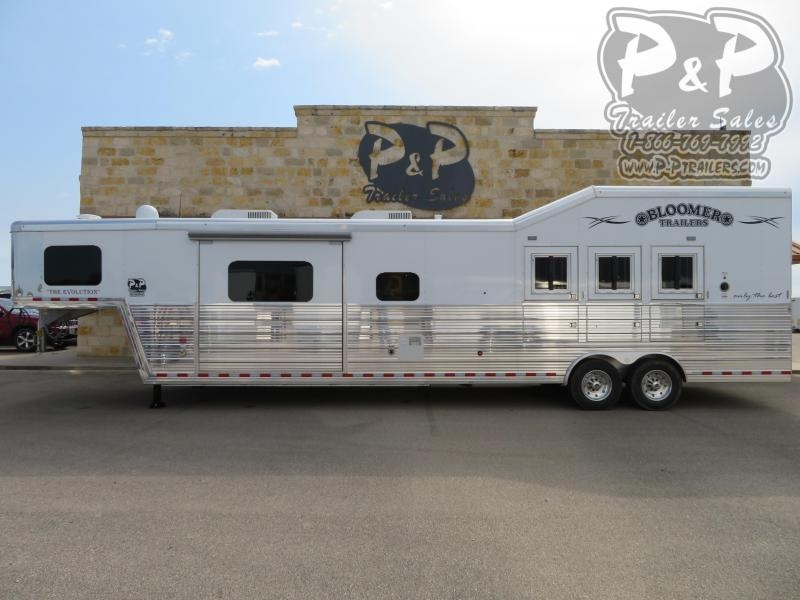 """2020 Bloomer Outlaw Conversions 3 Horse Slant Load Trailer 17'2"""" FT LQ With Slides w/ Ramps"""